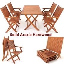 Garden Hardwood Dining Table Chairs Set Folding Outdoor Easy Storage Fur... - $295.56