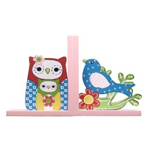 Adeco Colorful Faux-Stitched Owl & Bird Kids' Decorative Wood Bookends - £14.94 GBP