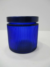Vintage Cobalt Blue Avon Glass Jar With Metal Lid Number 4 Signed - $15.99