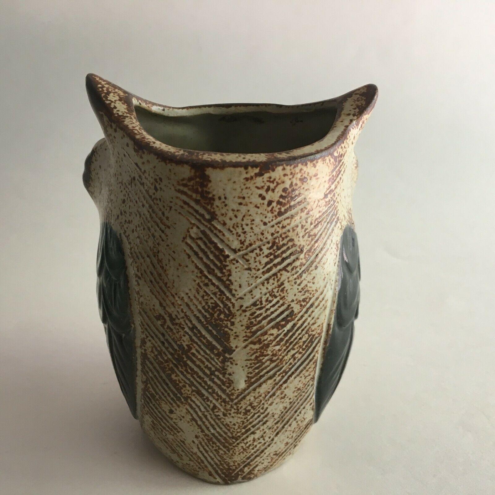 "Vintage Ceramic Owl Flower Vase Figurine 5.5"" X 3"" Brown & Cream Big Black Eyes image 2"