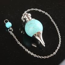 Mix-Stone Opal Lapis Quartz Onyx Ball Chain Dowsing Healing Chakra Pendulum With - $9.82