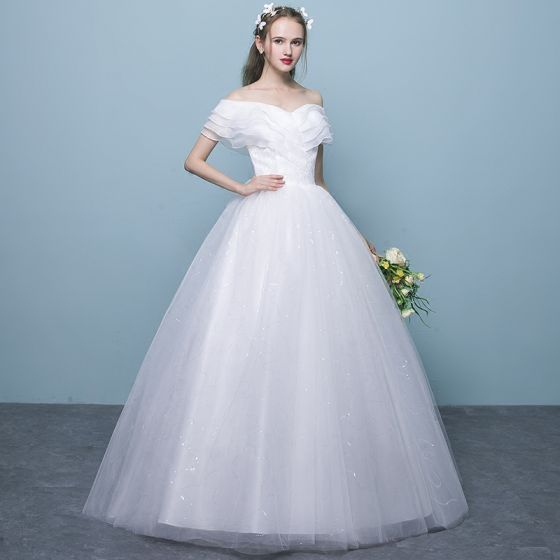 Primary image for Affordable White Wedding Dresses 2018 Ball Gown Lace Off-The-Shoulder ~ In Stock