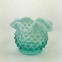 "Vintage Fenton Bowl STUNNING! Blue Opalescent Hobnail 4"" x 3"" Dish Bud Vase - $44.98"