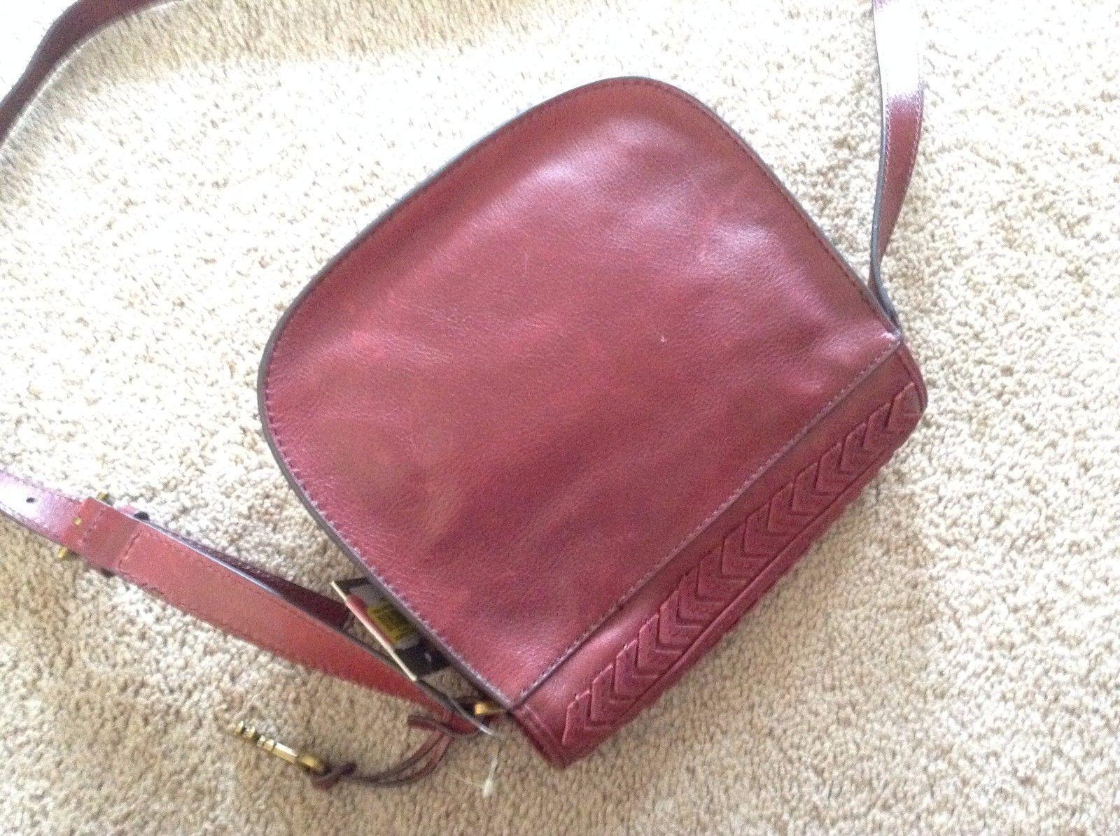 NWT $178 Fossil Emi Tassel Saddle Crossbody Bag Wine purse new