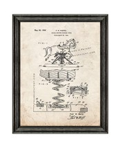 Rocking Horse Patent Print Old Look with Black Wood Frame - $24.95+