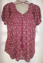 NEW WOMENS PLUS SIZE 3X  WINE COLOR HACCI TIE FRONT PEASANT TOP WITH CRO... - $15.47