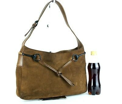 f655b304e44 1. 1. Previous. Authentic GUCCI Vintage Brown Suede Leather Hobo One Shoulder  Bag Purse Italy