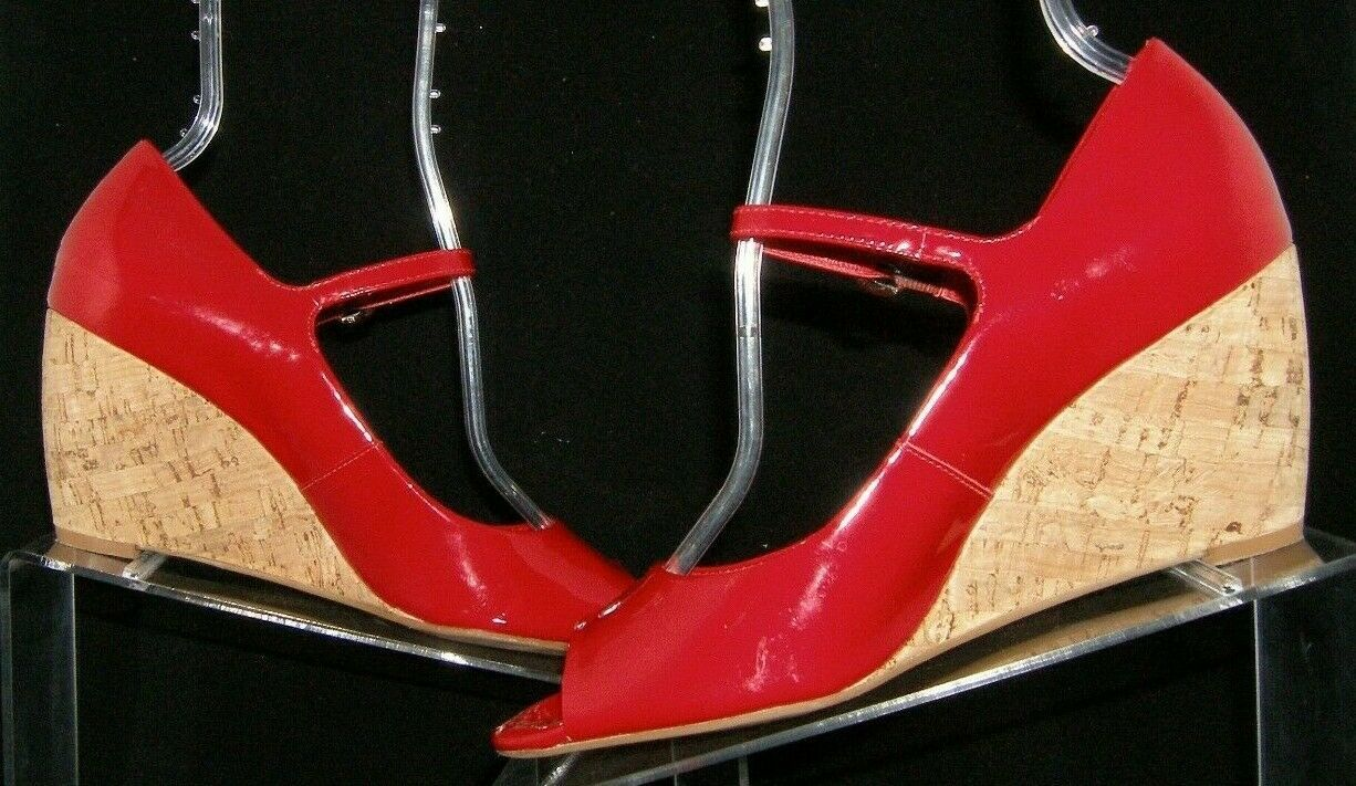 Franco Sarto 'Fashioni' red patent leather peep toe mary jane cork wedges 8M image 3