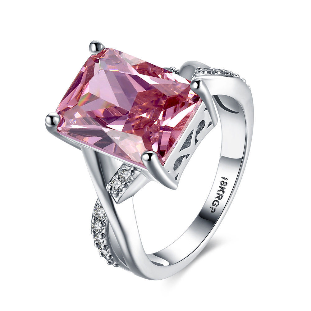 Primary image for Womens Fashion 925 Silver Pear Cut Ring Eternity Pink Sapphire Waterdrop Jewelry