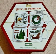 Sakura David Carter Brown Signs Of Christmas 4 Mugs Stoneware With Box B... - $24.75