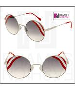 FENDI Waves FF0248S White Red Stripe Mirrored Sunglasses Round Runway 0248 - $254.43