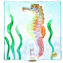 "Jaco Handcrafted Fused Glass Ocean Seahorse 4"" Square Night Light image 4"
