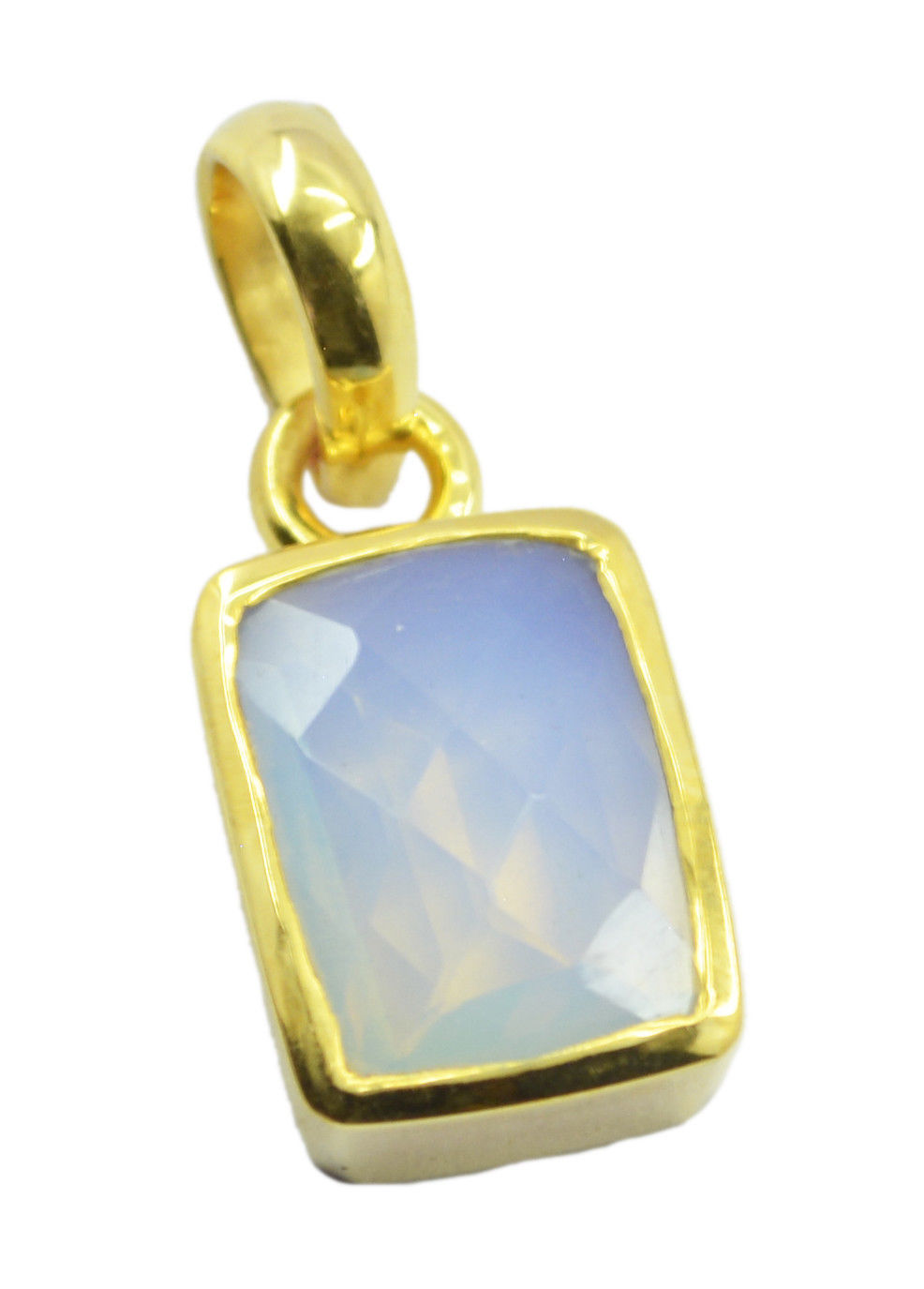 Primary image for gorgeous Fire Opal CZ Gold Plated White Pendant Glass jaipur US