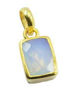 gorgeous Fire Opal CZ Gold Plated White Pendant Glass jaipur US - $13.16