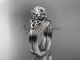 Diamond Bridal Set Platinum  Celtic Trinity Knot Unusual Engagement Ring C - $1,650.00