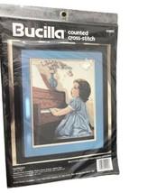 1994 Bucilla Cross Stitch HARMONY Child Playing Piano Music #40904 NEW/Sealed - $15.83