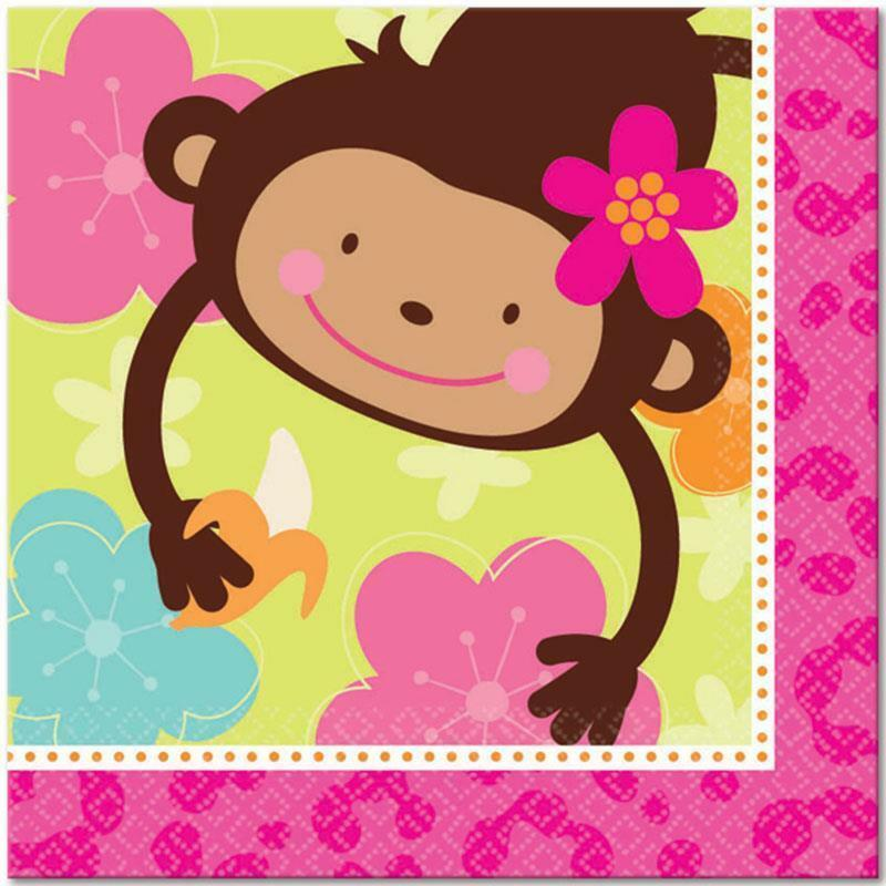 Monkey Love Lunch Dinner Napkins 16 Count Birthday Party Supplies New
