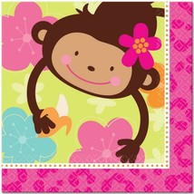 Monkey Love Lunch Dinner Napkins 16 Count Birthday Party Supplies New - $3.71