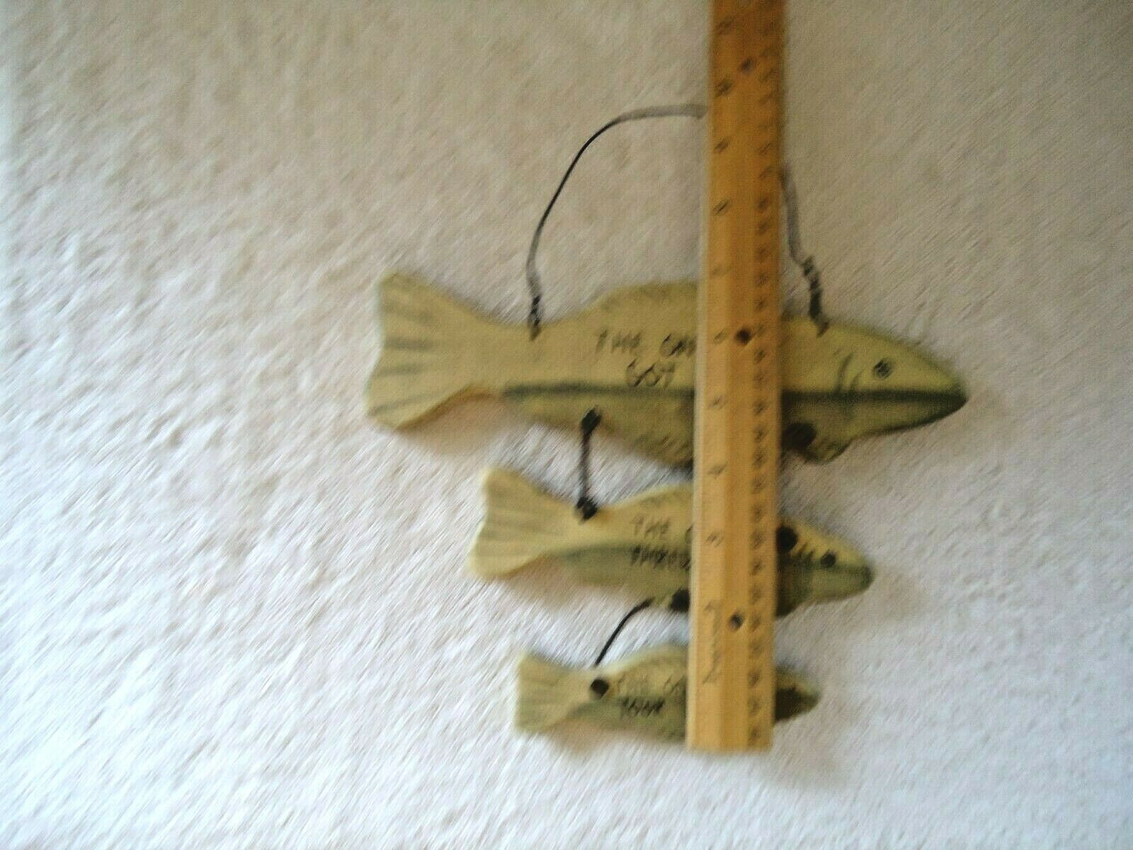 """Vintage ? Ohio Wholesale Wall Hanging 3 Tiered Fish Shaped Plaque """" MAN CAVE """""""