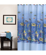"Fabric Shower Curtain 70"" x 72"" Colorful Tropical Sea Print - $14.49"