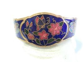 Cloisonne Blue Hinged Vintage Bracelet Pretty Flowers Butterfly Oriental China - $19.00