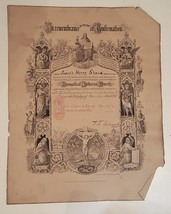 1895 antique CONFIRMATION CERT annville pa JOSEPH HENRY SHAUD schmauk - $87.95