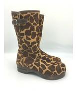 Hanna Andersson Womens Giraffe Print Zipper Boots Calf Hair Clog Size 37... - $49.95