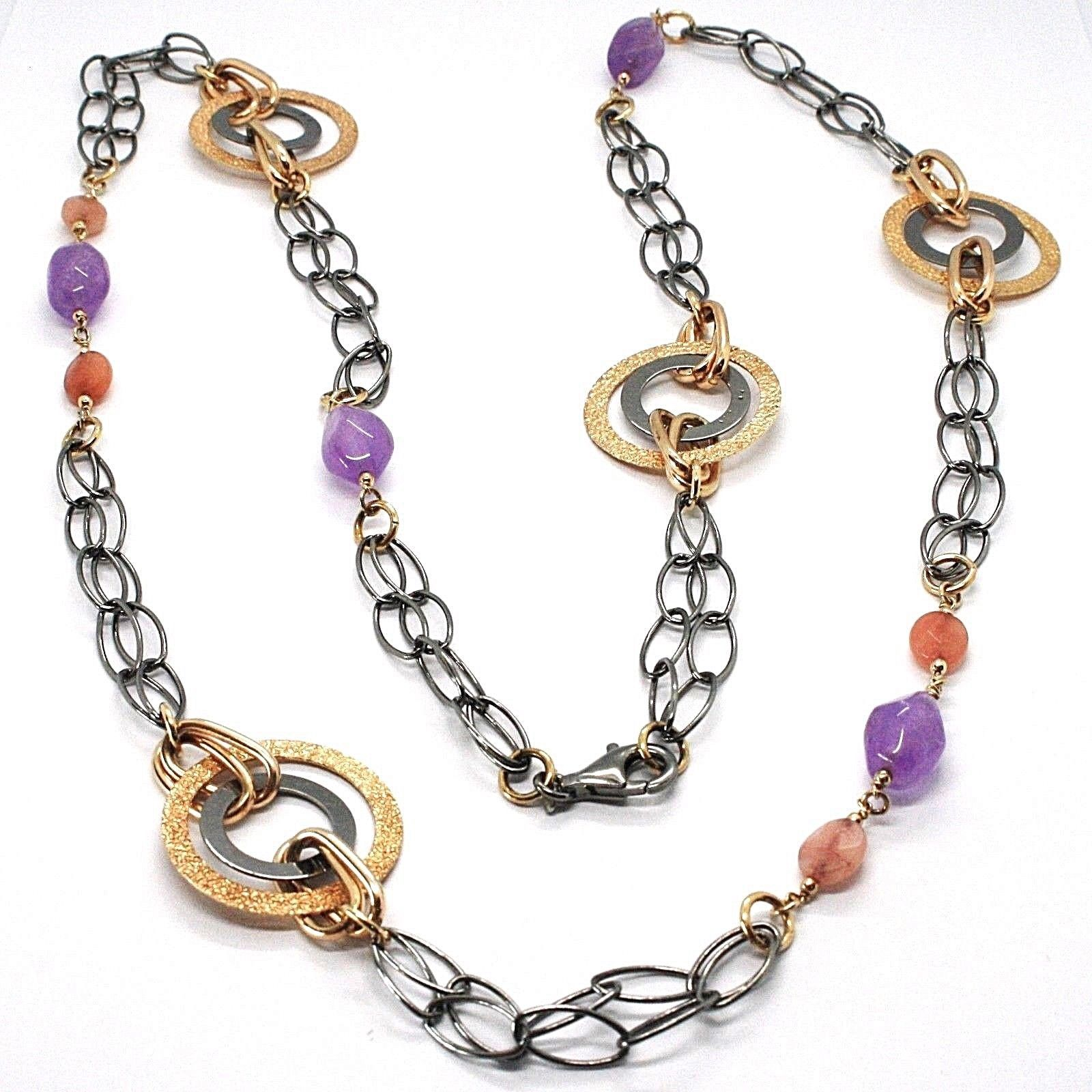 925 Silver Necklace, Burnished and Pink, Circles, Amethyst, Agate, Length 100 cm