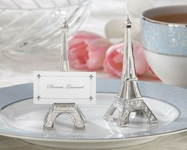 4 Evening in Paris Eiffel Tower Silver Finish Place Card Holders Wedding... - $7.98
