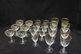 Set of 21 Pieces of Aurora Fostorial Crystal Gold Rim Glasses Various Sizes - $139.00