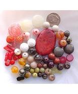 Lot Red Brown Gemstone Beads Jewelry Making Destash Carnelian Coral Turq... - $14.99