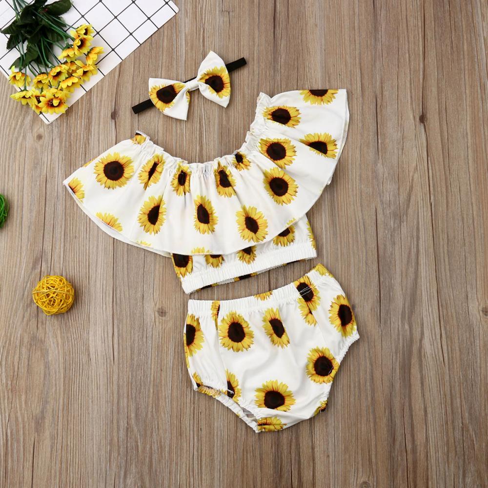 2019 Summer Sunflower Newborn Baby Girl Clothes 3Pcs Sunflower Ruffle Crop Tops+ image 3