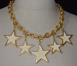 Premier Designs Spangle Ivory Cream Enamel Star Heavy Choker Necklace NOS - $49.01