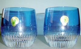 Waterford Mixology Argon Blue Tumbler/Double Old Fashioned Glasses Pair (2) New - $209.90