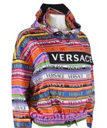 NEW Versace Women's $1,995 Silk Printed Logo Pullover Hooded Jacket Shir... - $490.05