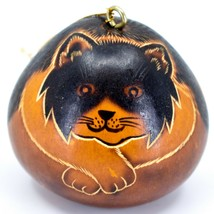 Handcrafted Carved Gourd Art Long Hair Cat Kitten Kitty Ornament Made in... - $16.82