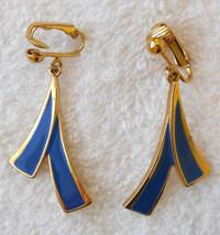 Avon Blue Brush Stroke Style Clip On Dangle Earrings Nickel Free True VT... - $19.75