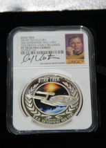 2015 Star Trek Proof  Silver 2 Coin Set Signed By William Shatner NGC PF70UC ER image 6