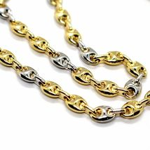 18K YELLOW WHITE GOLD MARINER CHAIN 5 MM, 20 INCHES, ANCHOR ROUNDED NECKLACE image 4