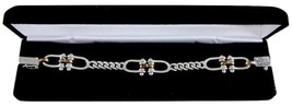 Sterling Silver Figaro Chain With Dual Horsebit Equestrian Accent Bracelet - $88.00