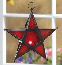 Wrought iron frame red glass hanging star candleholder lantern, candles ... - $16.00