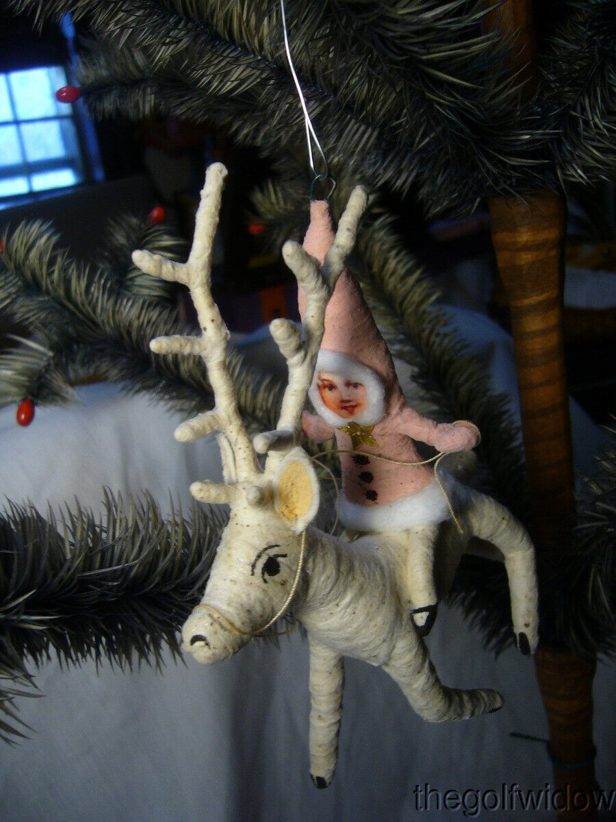 Vintage Inspired Spun Cotton Christmas Ornament Reindeer Rider no. CH8 Pink