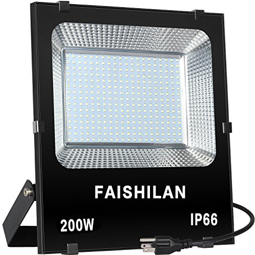 Halogen Work Lamp Flood Light 150w Portable Garage: FAISHILAN 200W LED Flood Light, 1000W Halogen Equiv