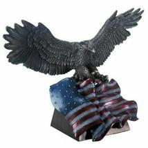Antique Bronze Finish American Eagle with Flag Patriotic Statue - $69.29