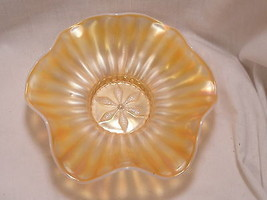 Dugan Carnival Glass Stippled Flower Bowl Peach Opalescent  bowl - $19.99