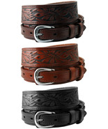 """Carson Western Tooled Genuine Leather Durable Ranger Belt 1-1/2"""" to 3/4""""... - $26.95"""
