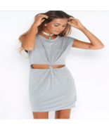 Slim Cut Out Knot Short Sleeve Dress - $19.99