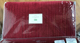 Pottery Barn Velvet Channel Quilt Ruby Red Queen 2 Euro Shams 3pc Christmas - $399.00
