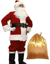 WHOBUY Men's Deluxe Santa Suit 10pc. Christmas Adult Santa Claus XL Red - $133.93
