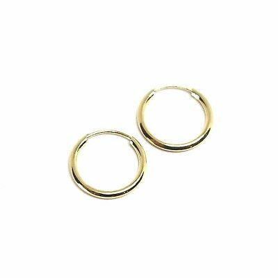 18K YELLOW GOLD ROUND CIRCLE HOOP SMALL EARRINGS DIAMETER 12.5mm x 1.2mm, ITALY
